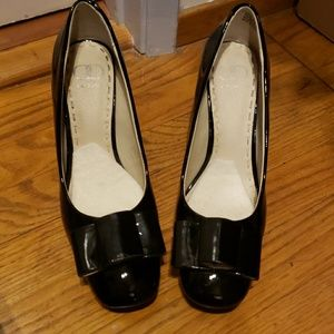 Black patton leather heels